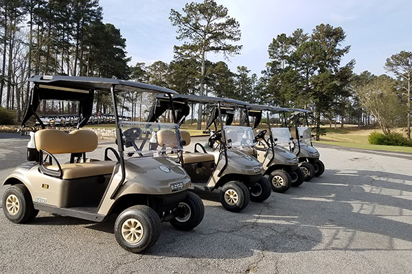 golf carts lined up